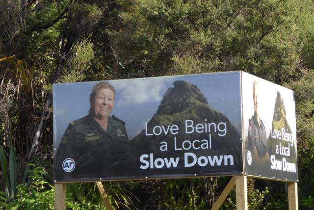 Waitakere Ranges speed sign